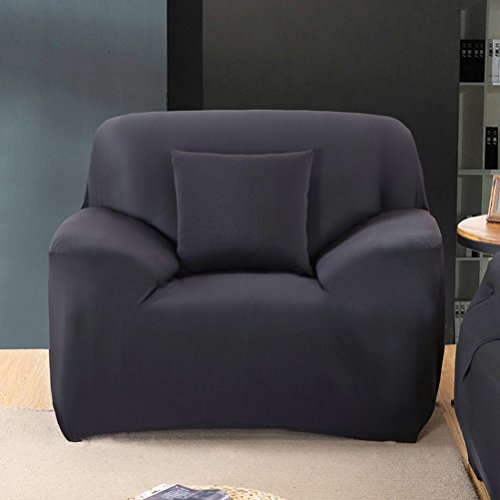 WINOMO Armchair Slipcover Polyester t-cushion Chair Slipcover One-seat sofa cover (Black) by WINOMO (Image #4)