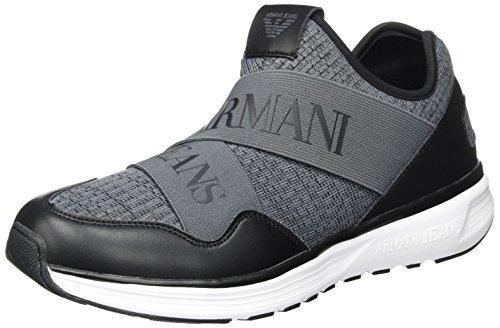 Armani Jeans Heren Breisel Logo Elastische Band Sneaker Grigio Melange