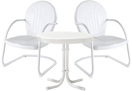 Crosley Furniture Griffith 3-Piece Metal Outdoor Conversation Set with Table and 2 Chairs - White