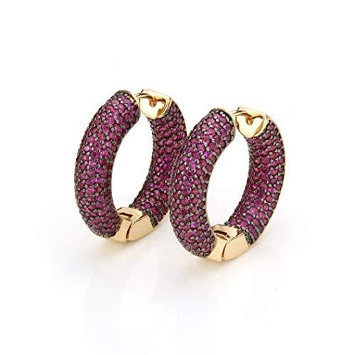 Golden Copper Pins Multicolor Cubic Zirconia Big Circle Hoop Earrings Women's Fashion Party Jewelry Cobre CZ Brincos Gift (T De Cobre)