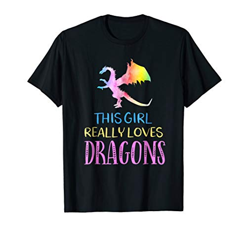 T-shirt Dragon Breathing Fire (Cute Dragon TShirt This Girl Loves Dragons Gift Rainbow Tee)
