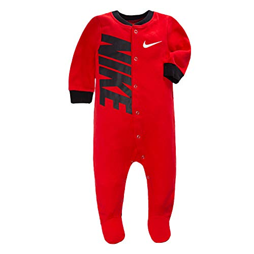 NIKE Children's Apparel Baby Graphic Logo Footed Coverall, University Red/Black, 0/3M