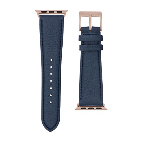 Roobaya | Premium Nappa Leather Watch Band for Apple Watch | Includes Adapters Matching The Color of The Apple Watch (Dark Blue, 38 - Series 3 Gold)