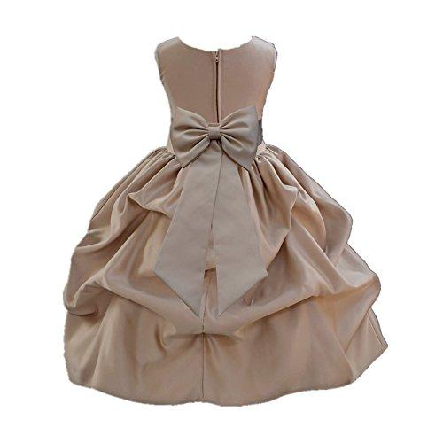 ekidsbridal Champagne Satin Bubble Pick-up Formal Flower Girl Dress Ceremonial Gown 208T M