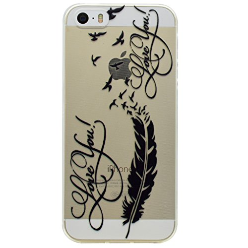 Coque iPhone SE 5 / 5S, IJIA Ultra-mince Transparent Plume Oiseau TPU Doux Silicone Bumper Case Cover Shell Housse Etui pour Apple iPhone SE 5 / 5S + 24K Or Autocollant