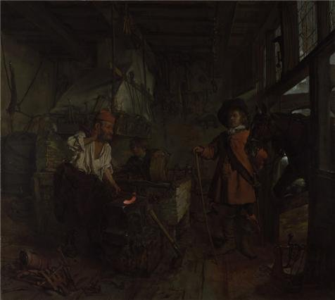 Oil Painting 'Gabriel Metsu - The Interior Of A Smithy,about 1657' Printing On Perfect Effect Canvas , 30x34 Inch / 76x85 Cm ,the Best Kids Room Artwork And Home Gallery Art And Gifts Is This Imitations Art DecorativePrints On Canvas -