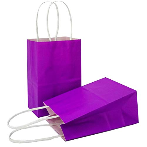 AZOWA Gift Bags Mini Kraft Paper Bags with Handles(Purple, 25 Pcs)