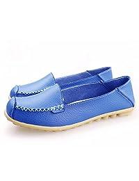 JIACA Zapatos Planos Casuales para Mujer Mocasines Antideslizantes Salvajes Zapatos de conducción para Caminar Suaves y cómodos,Blue,36