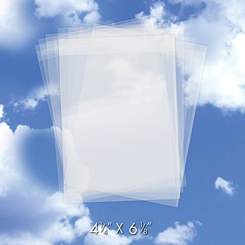 - 200 Crystal Clear Plastic Cello Bags (4.25 x 6.12 Inch) - Bulk Resealable Cellophane Sleeves w/Self Adhesive Flap (1.2 Mil Thick) - For Greeting Cards, Photos, Art - USPS Mailer CELLO4-1/4X6-1/8CL200