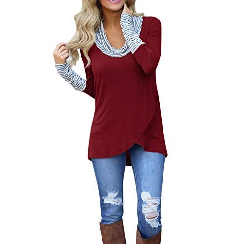 Wintialy Women O-Neck Stripe Long Sleeve Sweatshirt Pullover Tops Blouse Shirt