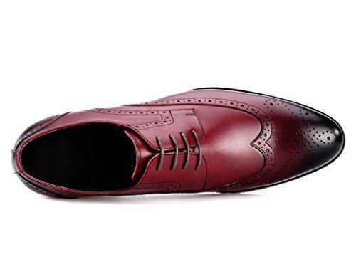HWF Scarpe Uomo in Pelle Scarpe da uomo in pelle traspirante Retro stile britannico appuntito a mano scarpe da lavoro casual (Colore : Nero, dimensioni : EU40/UK6.5) Vino Rosso