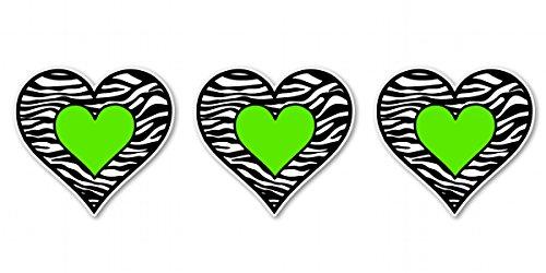 Zebra Decal Set (Zebra Hearts Set of 3 Black Green Cute Vinyl Sticker - Car Phone Helmet - SELECT SIZE)