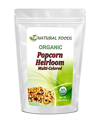 Raw Organic Heirloom Popcorn Kernels - 2 lb - Multi-colored - Low Calorie High Fiber Snack Perfect For Movie Night - Made In The USA - All Natural, Vegan, Non GMO, Gluten Free