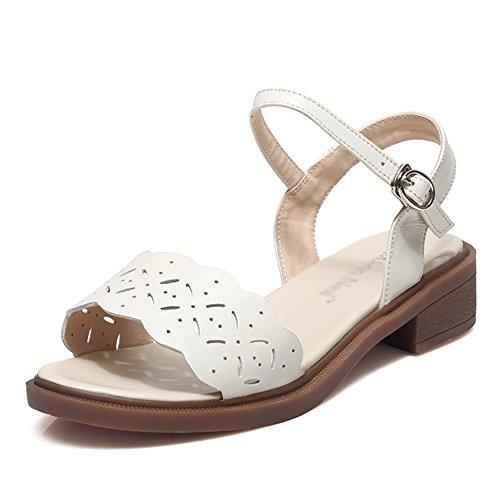 Farbe Schuhe Frau Sandalen ZCJB Oberbekleidung Weiß Sommer Offene Casual Spitze Komfortable 39 größe Flachboden Sandalen v00FxTnP