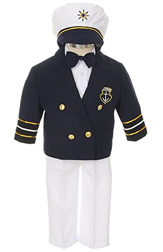 iGirldress Baby Toddler Boys Captain Sailor Tuxedo Special Occation Suit size7 Navy/WhitePants ()
