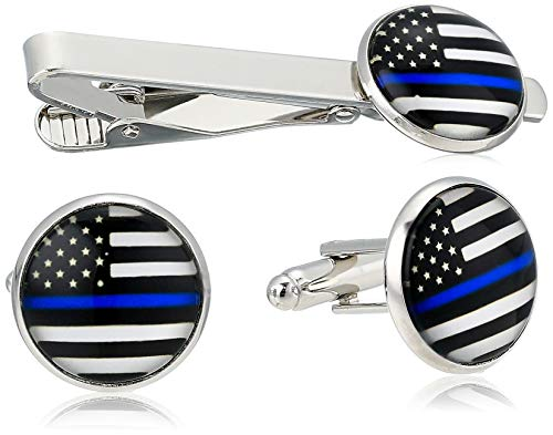 Silver Police Policemen Square Tie Bar Clip Clasp Tack Thin Blue Line