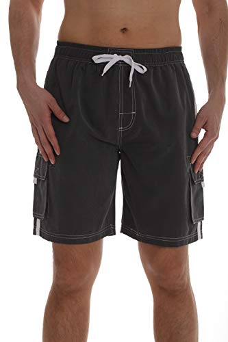 Whiskey and Oak Men's Bathing Suit Swim Trunks 94954-CHR-S Charcoal