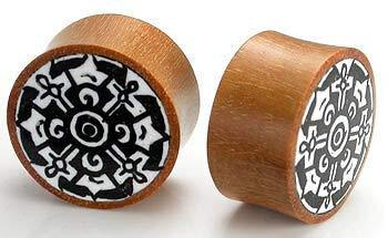 Unique Dharma Circle Design on Red Saba Wood Plug - Price Per 1 by Generic