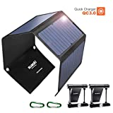 Quick Charge 3.0 Portable Solar Charger 28W SUAOKI Foldable Solar Panels Sunpower 3-port USB Phone Charger Compatible with Cell Phone iPhone iPad Samsung Laptop Tablet and more