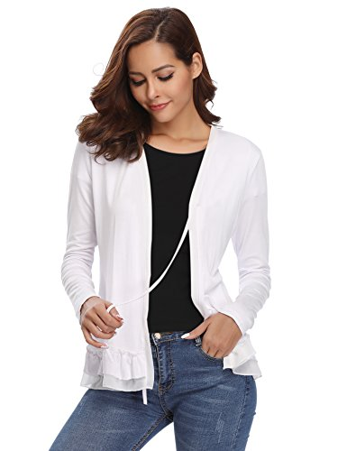 Long Sleeved Front (Abollria Women's Loose Casual Long Sleeved Open Front Breathable Cardigans)