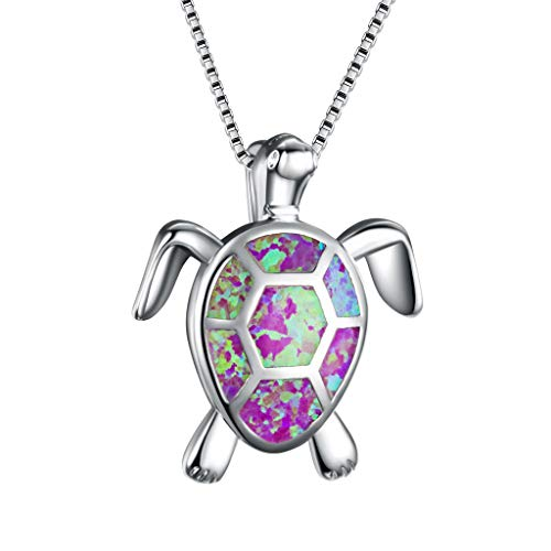 (Cotonie Women Jewelry Opal Sea Turtle Necklace Stainless Steel Pendant Birthstone Jewelry for Women Mom Gifts (A))