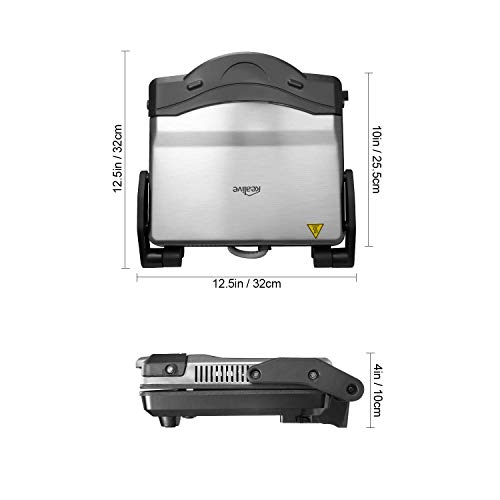 Kealive Panini Press Grill, 4-Slice Extra Large Gourmet Sandwich Maker Grill, Non-Stick Coated Plates, Opens 180 Degrees to Fit Any Type or Size of Food, Stainless Steel Surface and Drip Tray, 1200W by Kealive (Image #7)