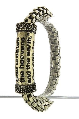 TRENDY FASHION JEWELRY GENESIS 1:1 SCRIPTURE BRACELET BY FASHION DESTINATION | (Antique Gold)