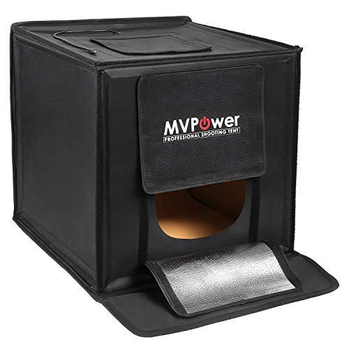 MVPOWER Photo Light Studio Box - 16''x16'' Portable Photo Shooting Studio Professional Photography Tent with LED Light 4 Backdrops (White Black Orange Green)