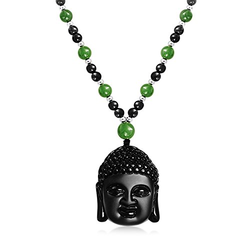 Jade Beads Necklace Earring - Green Black Bead Carved Long Large Obsidian Boho Fashion Statement Thai Buddha Pendant Necklace for Women for Men