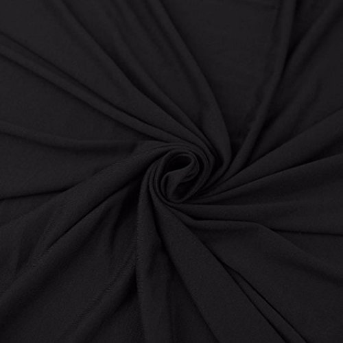 Cotton Spandex Jersey Fabric 10 oz - Solid Colors (2 yards, Black)