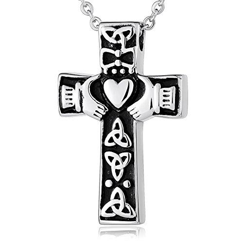 Stainless Steel Bullet Shape Bible Cross Necklace Charm Pendant - (Black) - 5
