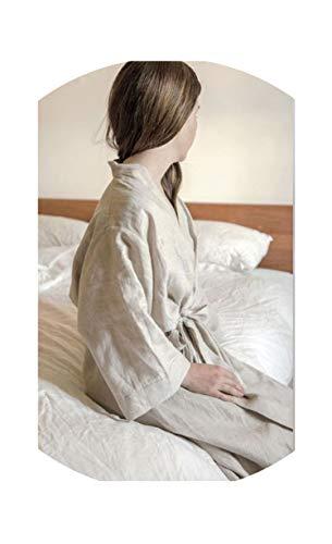 Women Sleepwear Linen Pajamas Robes.Breathable Shower Spa Linen Robe Night Bathrobes Sleep Nightgown,Linen,M ()