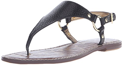 Sam Edelman Women's Greta Flat Sandal, Black Leather, 6 M US
