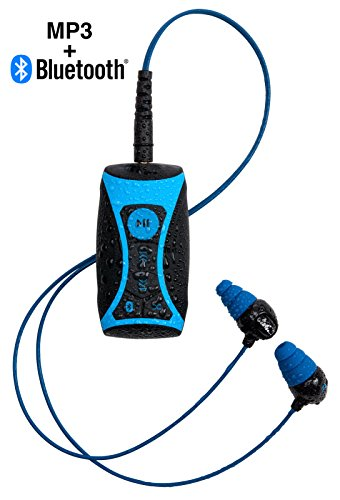 100% Waterproof Stream MP3 Music Player with Bluetooth and Underwater Headphones for Swimming Laps, Watersports, Short Cord, 8GB - by H2O Audio