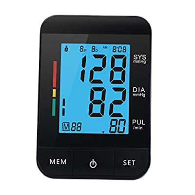 Upper Arm Blood Pressure Monitor Digital Portable Blood Pressure Monitor meter sphygmomanometer with FDA / CE Certified (Black)
