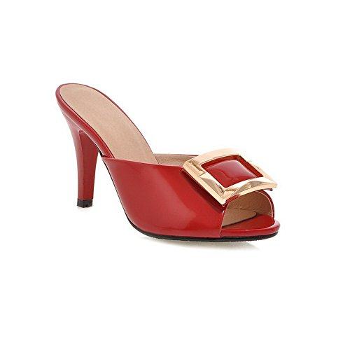 AdeeSu Ladies Cone-Shape Heel Metalornament Pull-On Red Polyurethane Sandals 5 B(M) US