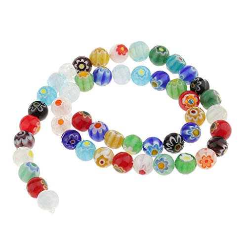 (Jili Online Mixed Spacer Loose Glass Beads Lampwork Millefiori Round Flower for Jewelry Bracelet Necklace Earring Making - Multicolor, 8 mm)