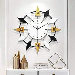 Wood and Metal Wall Clock, Oversize Star Shaped Living Room Silent Decorative Quartz Clock Handmade Iron Frame MDF Wood Dial-a 57x57cm(22x22inch)