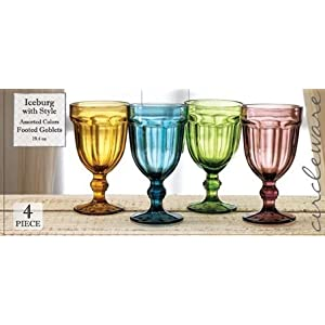Circleware Rockford Red-White Wine Glasses, Set of 4 Glass Drinking Goblets, Amber, Blue, Green, Purple, 19.4 ounce