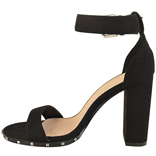 Womens Ladies High Heel Sandals Stud Goth Punk Rock Open Toe Party Shoes Size Black Faux Suede kewdgXfULa