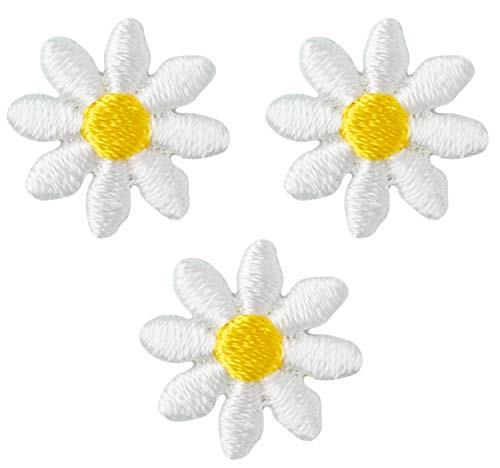 - Wrights Yellow and White Daisy Flower Applique Clothing Iron On Patches, 3pc, 5/8''