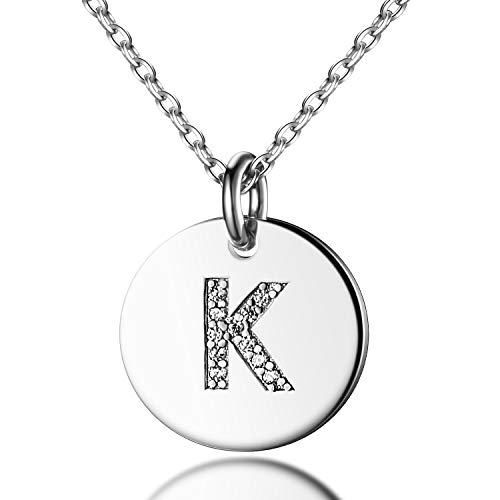 Dainty Disc Initial Necklace S925 Sterling Silver Letters K Alphabet Pendant Necklace Birthday Gift for - Pendant Monogram Necklace Initial