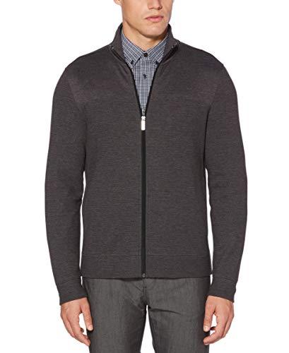 Perry Ellis Men's Cotton Blend Full Zip Texture Knit Jacket, Charcoal Heather-4CHK7101, -