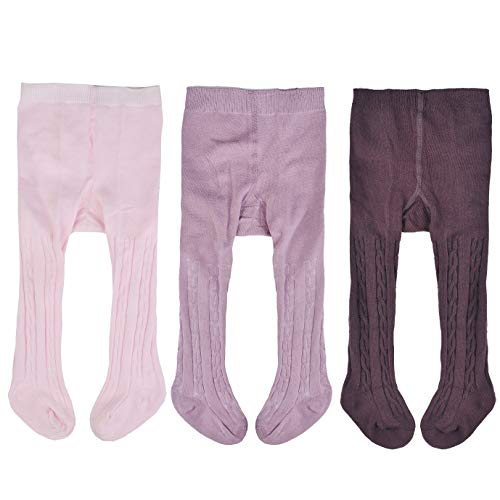 Epeius 3 Pair Pack Baby Girls Seamless Cable-Knit Tights Infants Girls Solid Color Cotton Rich Footed Leggings for 6-12 Months,Pink/Purple/Dark Brown