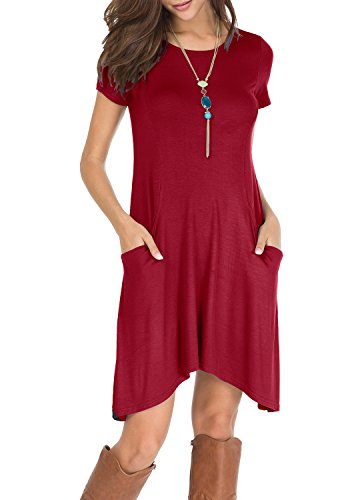 Wine with Casual levaca Loose Short Sleeve Summer T Women's Short Shirt Dress Pockets qFw76p