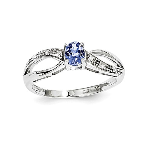 ICE CARATS 925 Sterling Silver Diamond Blue Tanzanite Band Ring Size 6.00 Gemstone Fine Jewelry Ideal Mothers Day Gifts For Mom Women Gift Set From Heart by ICE CARATS (Image #1)