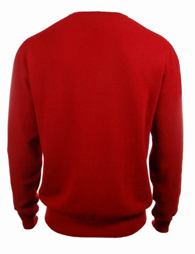 Men's 100% Cashmere Solid V-Neck Sweater (L, Regatta Red) by Club Room (Image #2)