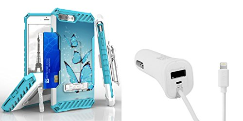 Apple iPhone 8 Plus - Accessory Bundle: [Blue Butterflies] Dual Layer Shockproof [Military Grade] Protective Case, [Apple MFI Certified] 17W Lightning Car Charger with USB Port, Atom LED (Blue Butterfly Charger)