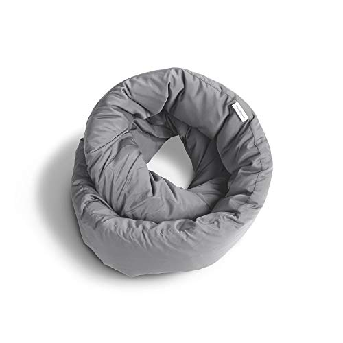 Puffer Neck - Huzi Infinity Pillow - Design Power Nap Pillow, Travel and Neck Pillow (Grey)