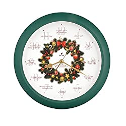 JUSTIME Elegant 14-inch 12 Song of Carols of Christmas Wreath Melody Wall Clock, Quartz Home Wall Deco Clock (WR Green)